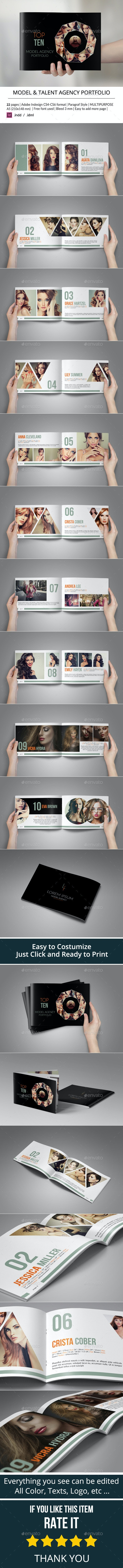 Model Agency Catalogs or Portfolio Template - Portfolio Brochures