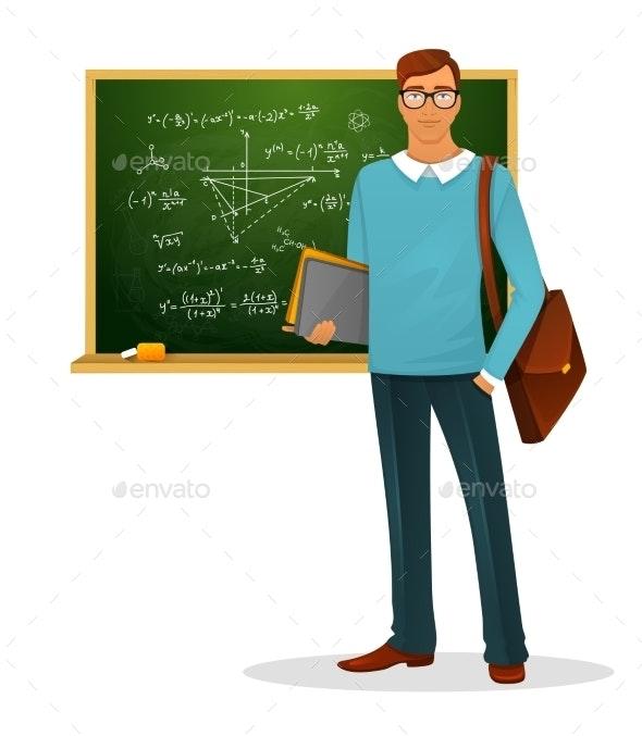 Male teacher with blackboard - People Characters