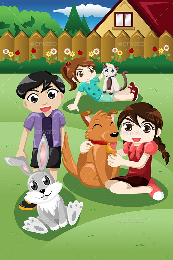 Kids playing with their Pets - People Characters