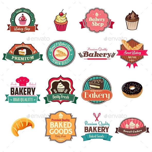 Vintage Bakery Collection of Icons and Tags - Decorative Vectors