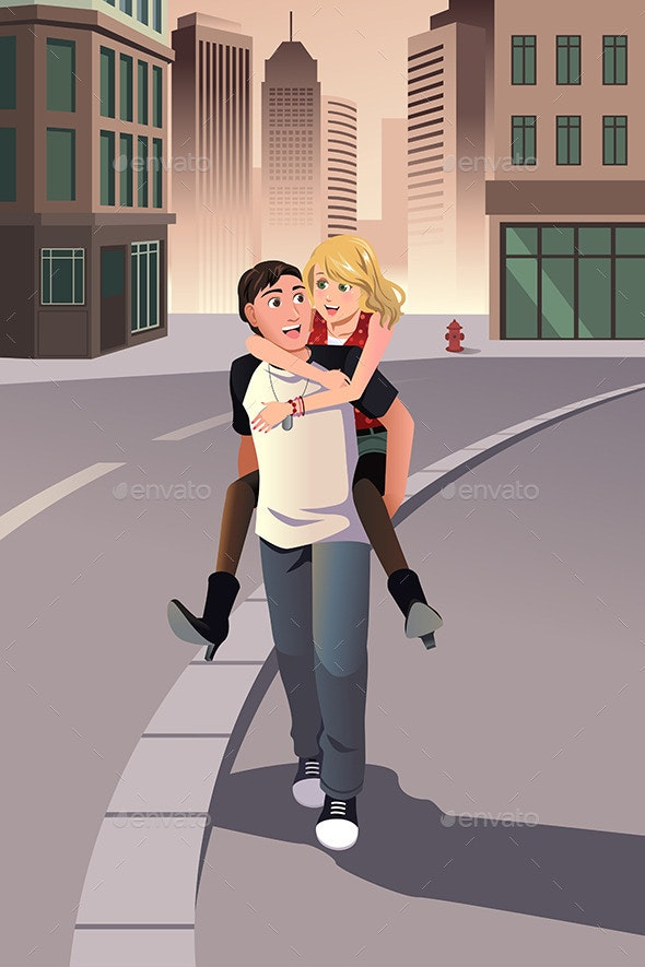Man Giving Piggyback Ride to his Girlfriend - People Characters