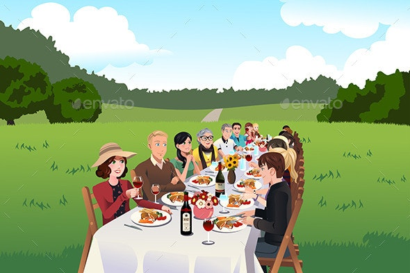 People Eating at a Farm Table - People Characters