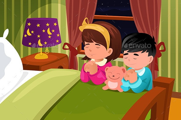 Kids Praying Before Going to Bed - People Characters