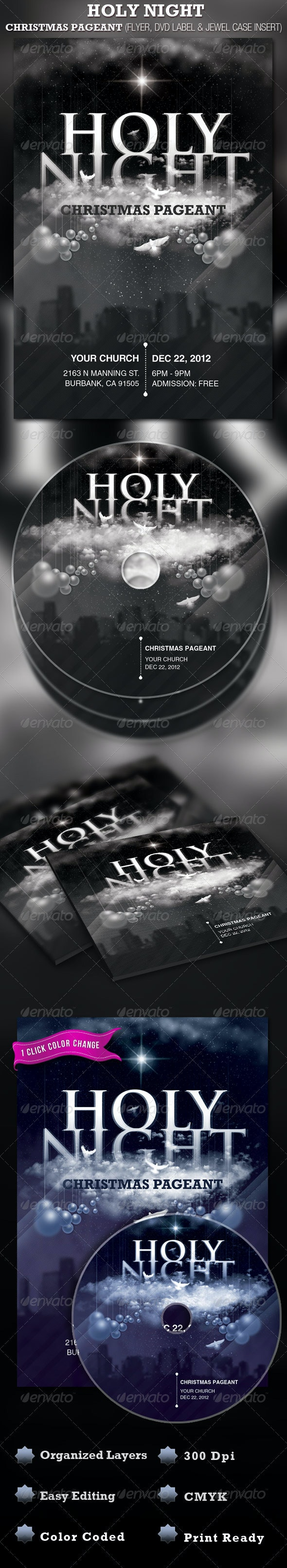 Holy Night Chirstmas Flyer and CD Label Template - Church Flyers