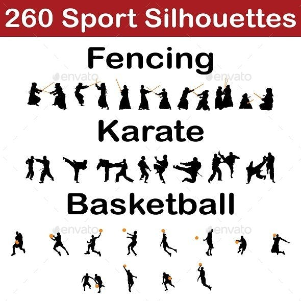 Set of 260 Sport Silhouettes