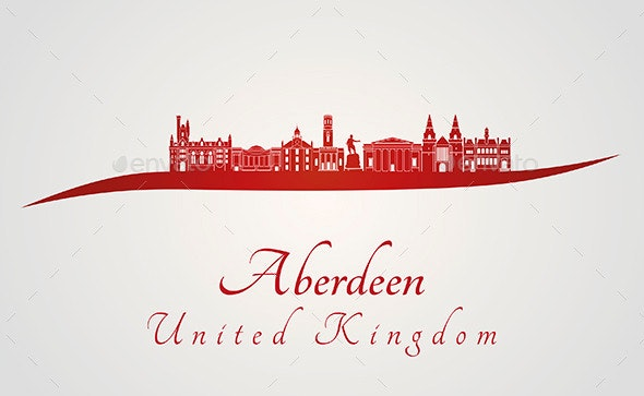 Aberdeen Skyline in Red - Buildings Objects