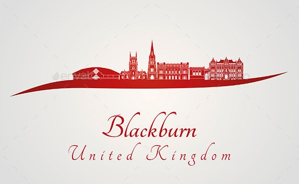 Blackburn Skyline in Red - Buildings Objects