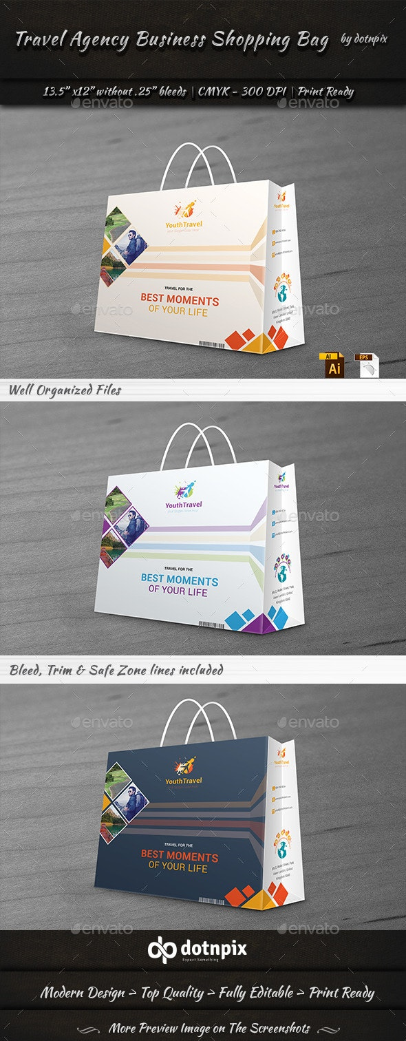 Travel Business Shopping Bag - Packaging Print Templates