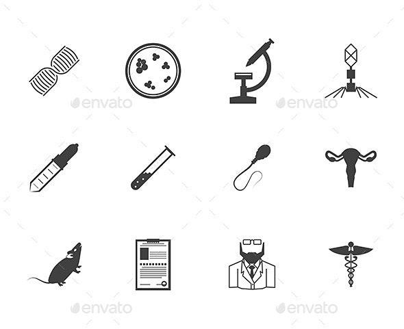 Black Icons for Genetics - Health/Medicine Conceptual