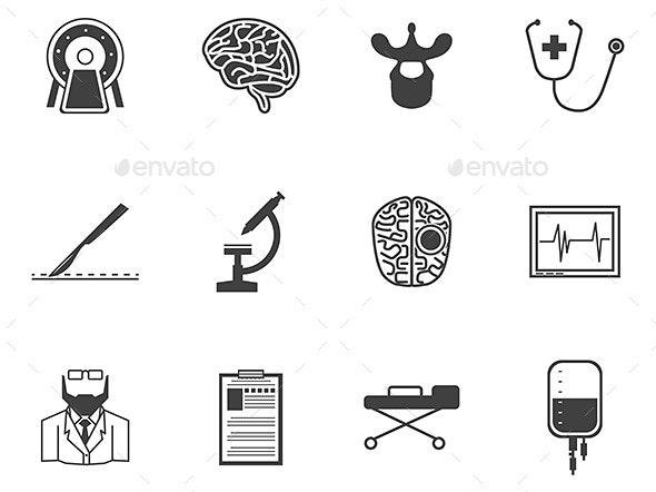 Black Icons for Neurosurgery - Health/Medicine Conceptual