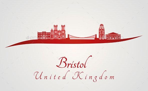 Bristol Skyline in Red - Buildings Objects