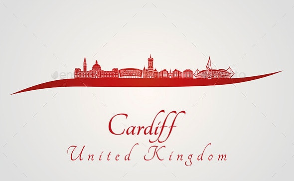 Cardiff Skyline in Red - Buildings Objects