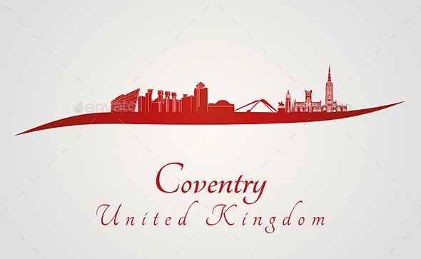 Coventry Skyline in Red - Buildings Objects