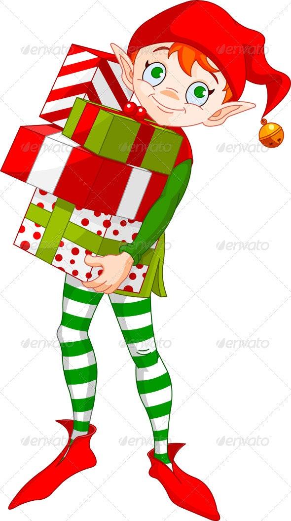Christmas Elf with gifts - Christmas Seasons/Holidays