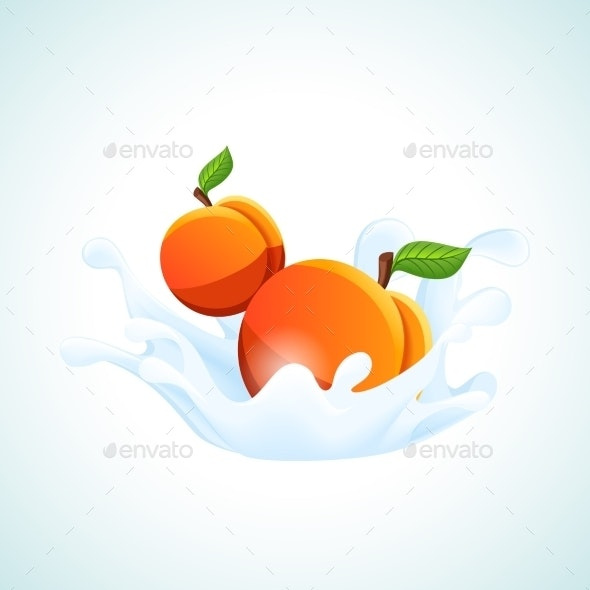 Apricots in Milk Splash - Food Objects