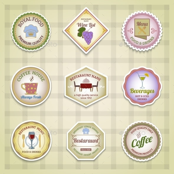 Restaurant Label Set  - Food Objects