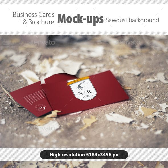 Business Card/Brochure Mock-Ups Sawdust Background