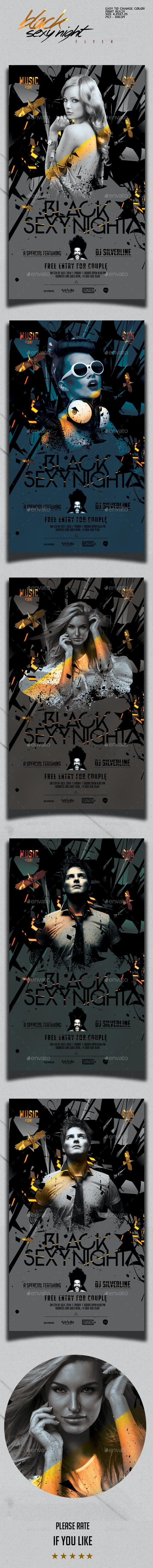 Black Sexy Night Party Flyer Template - Clubs & Parties Events