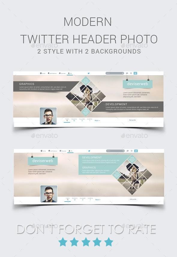 Modern Twitter Header - Twitter Social Media