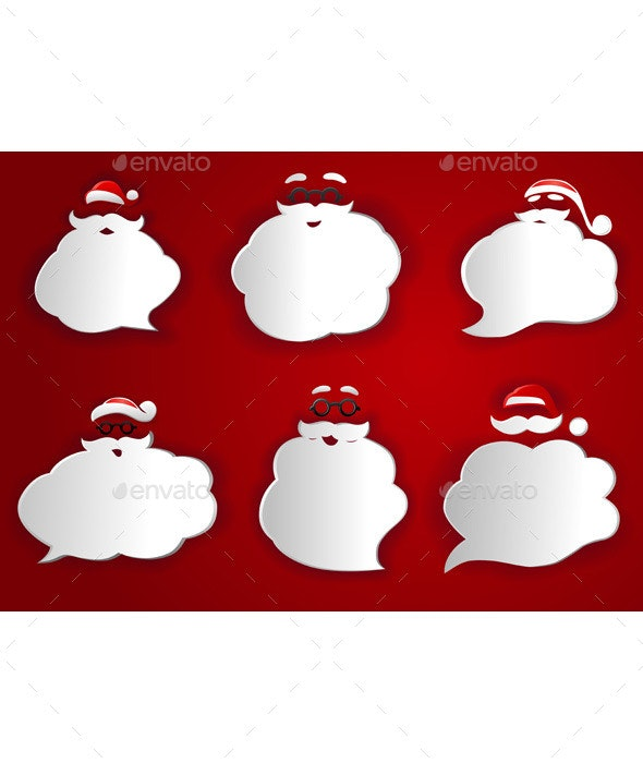 Santa Speech Bubbles Silhouettes  - Decorative Symbols Decorative