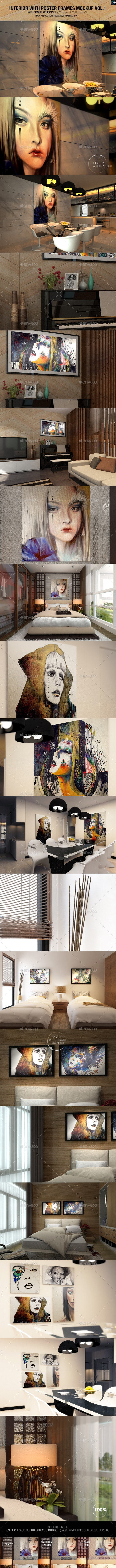 Interior With Poster Frames Mockup Vol.1 - Miscellaneous Displays