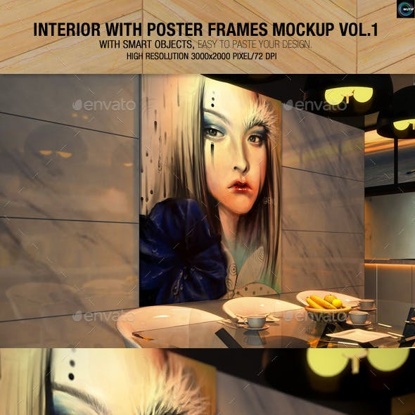 Interior With Poster Frames Mockup Vol.1
