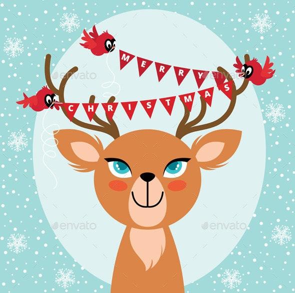Birds and Christmas Reindeer - Christmas Seasons/Holidays