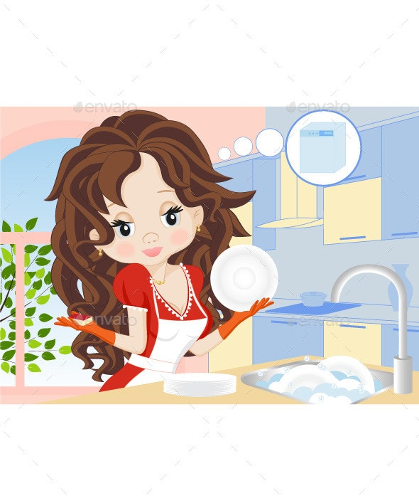 Woman Wipes the Dishes - People Characters