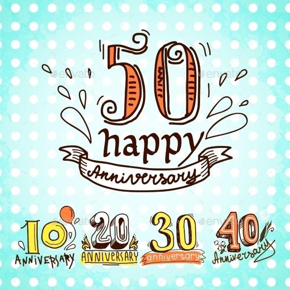 Anniversary Signs Set - Miscellaneous Seasons/Holidays