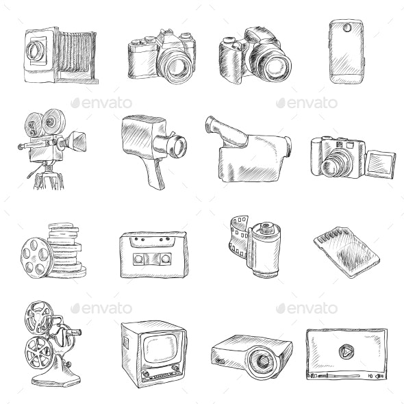 Photo Video Doodle Icons - Media Technology