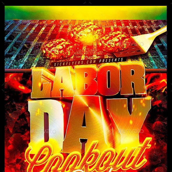 Labor Day Cookout Party Flyer Template