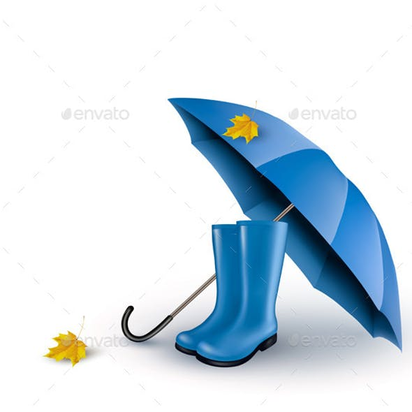 Background with Umbrella and Rain Boots