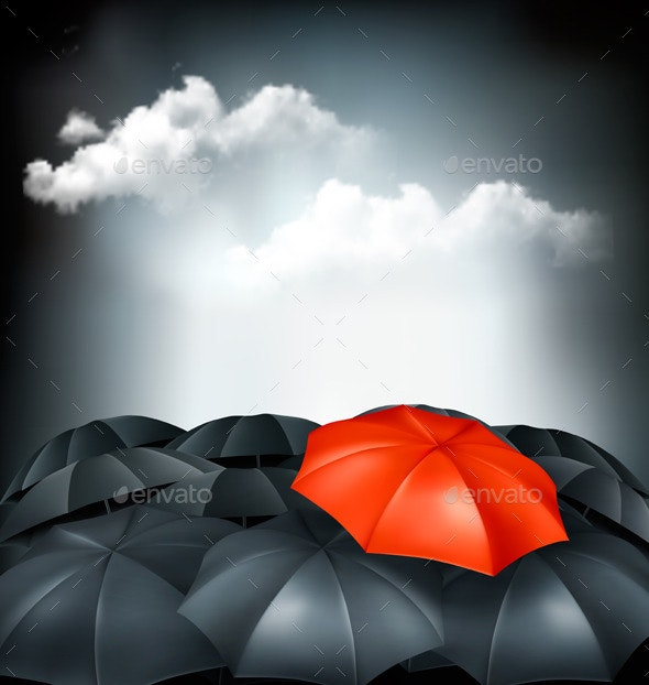 One Red Umbrella in a Group of Grey Umbrellas - Concepts Business