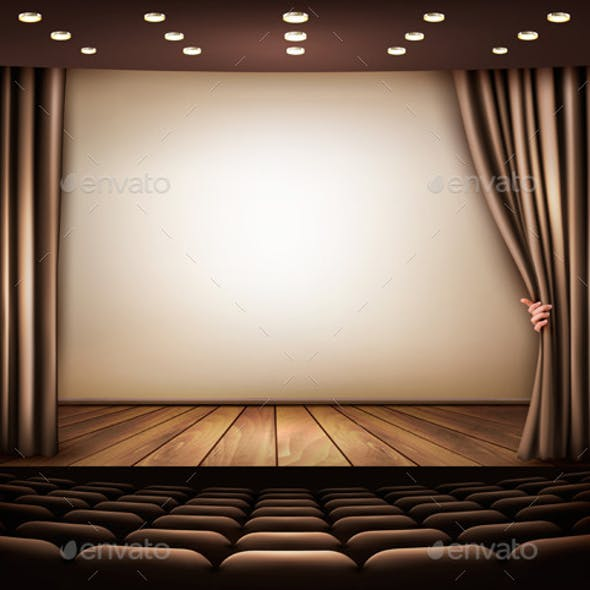 Cinema or Theater Scene with a Curtain
