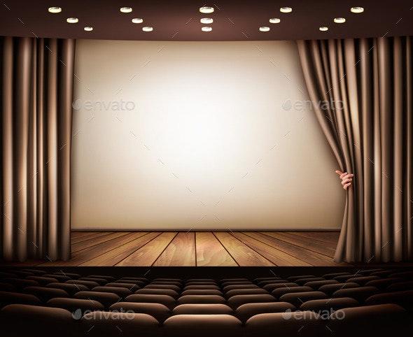 Cinema or Theater Scene with a Curtain - Decorative Vectors