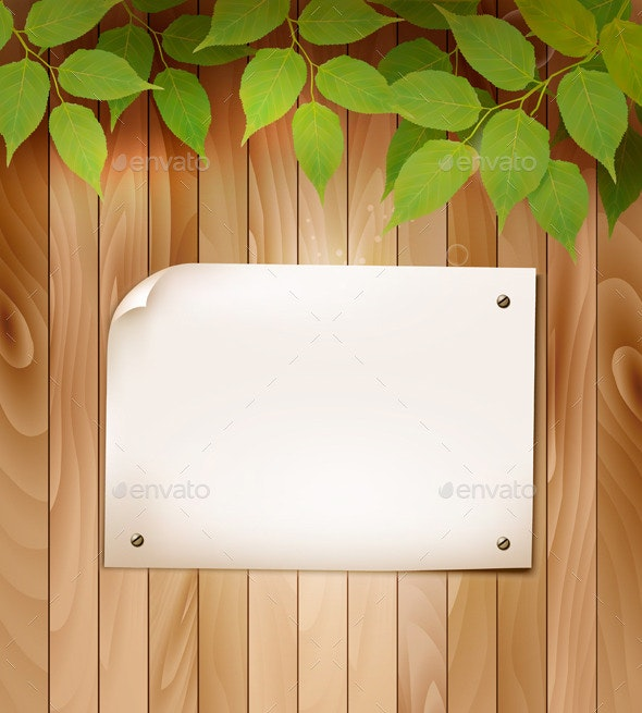 Natural Wooden Background with Leaves - Flowers & Plants Nature