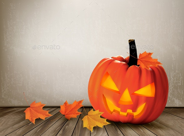 Halloween Background with a Jack O Lantern - Halloween Seasons/Holidays