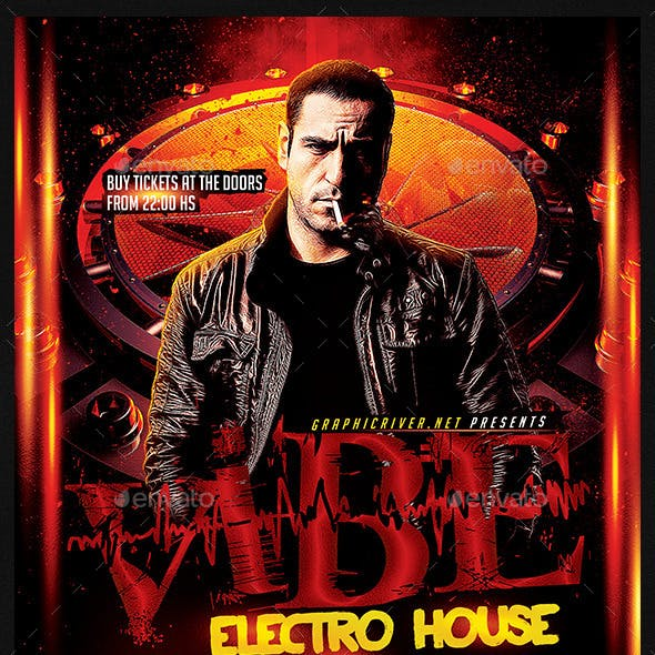 Vibe Electro House | DJ Flyer Template PSD