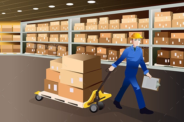 Man Working in a Warehouse - Business Conceptual