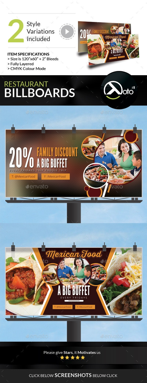 Mexican Restaurant Promotion Billboard - Signage Print Templates