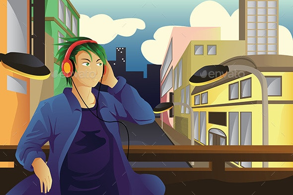 Man Listening to Music - People Characters