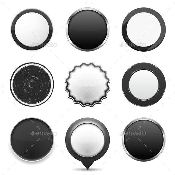 Round Black Buttons - Web Elements Vectors
