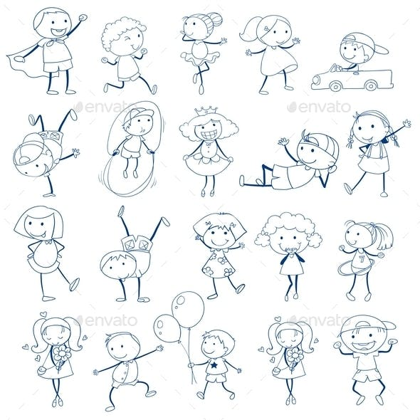 Doodles of Kids Playing