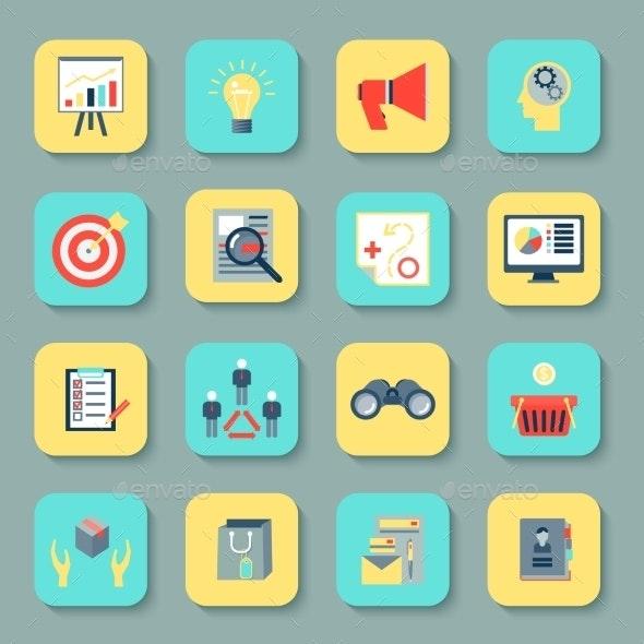 Marketers Flat Icons Set - Web Elements Vectors