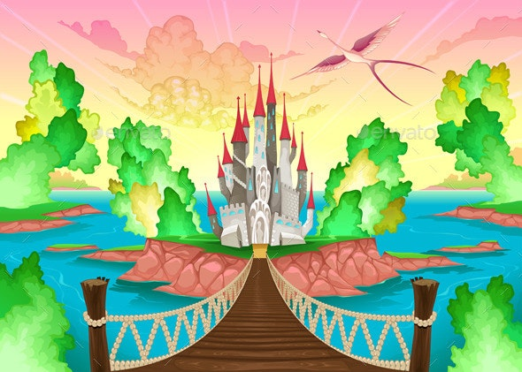 Fantasy Landscape with Castle - Buildings Objects