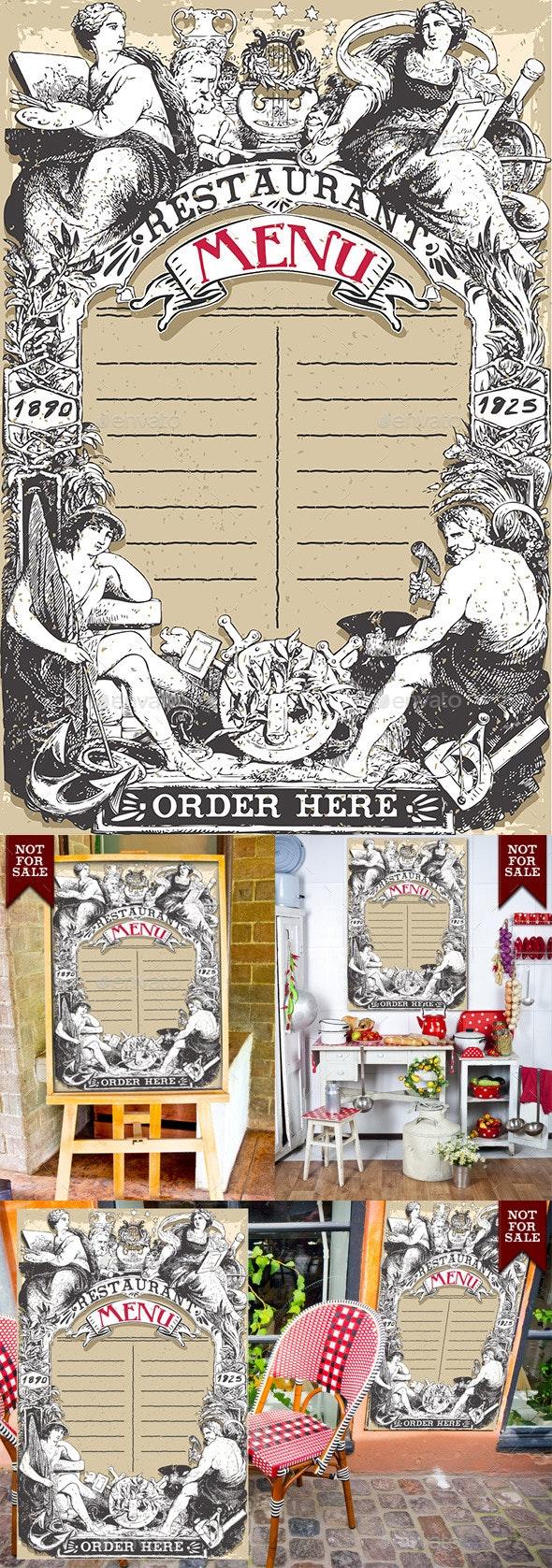 Vintage Page for Restaurant Menu - Borders Decorative