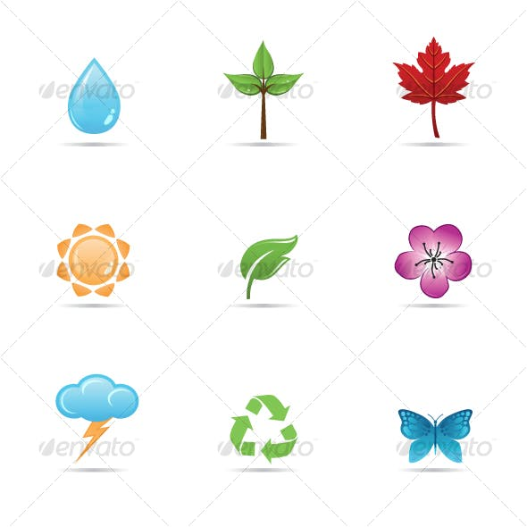 Set of glossy nature, environmental icons