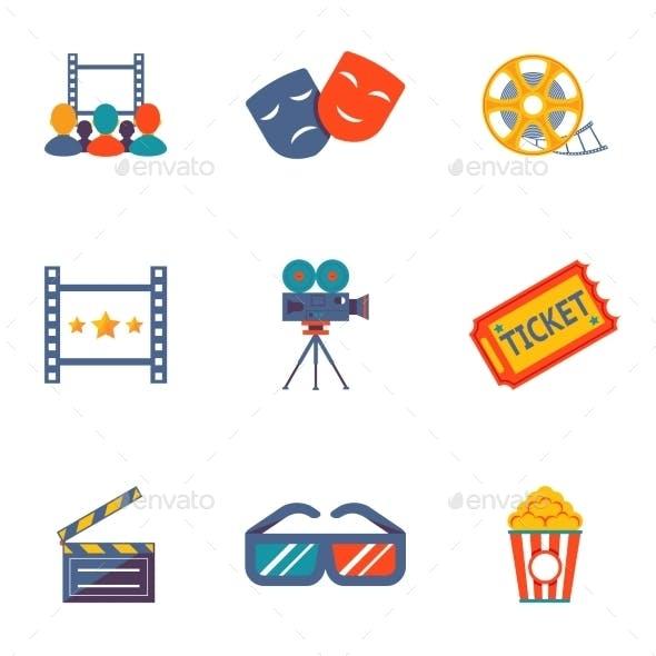 Cinema and Movie flat icon set