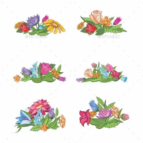Set of Flower Vignettes - Flowers & Plants Nature