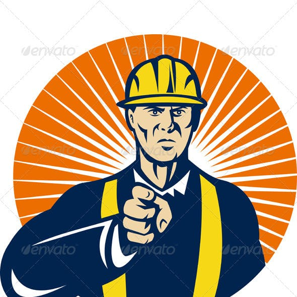 Construction Foreman Engineer Pointing Finger